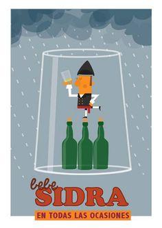 Jack Brain -bebe sidra asturiana Vintage Ads, Vintage Posters, Paraiso Natural, Malaga Spain, Pop Art, Beer, Humor, Illustration, Movie Posters
