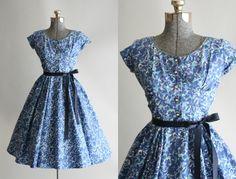 Vintage 1950s Dress / 50s Cotton Dress / by TuesdayRoseVintage