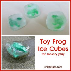 Toy Frog Ice Cubes. We can put anything in the ice for any colour! We can also have coloured ice