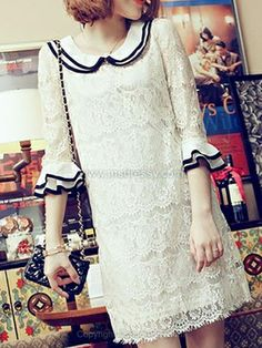 Beige Lapel Ruffles Embroidery Lace Dress for HPL