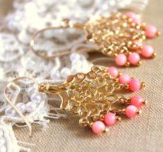 Coral earrings - 14k Gold fild earrings  wirh real pink coral gemstone. $46.00, via Etsy.