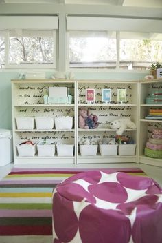 IKEA HACKS fabric glued to back of Billy bookcases