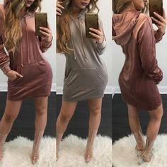 Trendy Women Pocket Design Casual Hoodie Dress