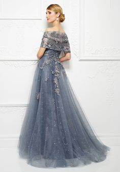 995089986aa Montage by Mon Cheri - 217D88 Embroidered Strapless Lace A-Line Evening  Gown in Gray
