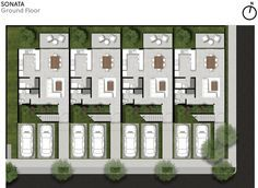 World Architecture Community News - Intersection of staircases forms the facade of this multi-family building in México Single Floor House Design, Terrace Building, Narrow House Plans, Family House Plans, Site Plans, Roof Plan, Ground Floor Plan, Plan Design, Architect Design