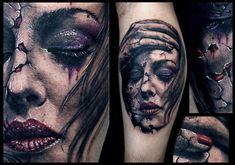 Tattoo by Aero (Poland) 3d Tattoos, Badass Tattoos, Body Art Tattoos, Girl Tattoos, Tatoos, Face Tattoos For Women, Tattoos For Guys, Girl Face Tattoo, Detailed Tattoo
