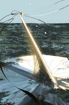 Sorcerer casting magic threads atop a giant sundial, Amei Zhao #solarpunk