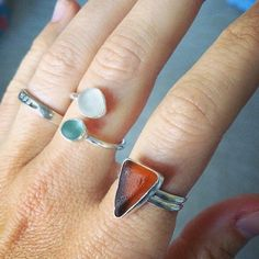 Sea Glass Ring - Custom Made to Order - Single or Double Seaglass Ring by LowTideLanding on Etsy https://www.etsy.com/listing/224159076/sea-glass-ring-custom-made-to-order