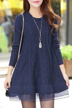 Stylish Round Neck Long Sleeve Solid Color Voile Spliced Sweater For Women