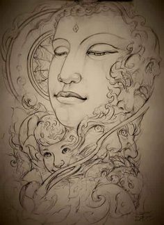 Buddha Lotus Tattoo, Buddha Tattoos, Buddha Artwork, Buddha Painting, Asian Tattoos, Black Tattoos, Buddha Drawing, Tibet Art, C Tattoo