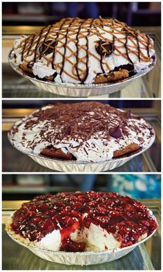 Chocolate peanut butter cup, Chocolate Pile and Cherry Crisp pies at Miss Anna's on Towson in Fort Smith. Photo courtesy of Grav Weldon. Read more by clicking the photo!