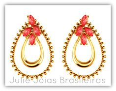 Brincos em ouro 750/18k e cristal de turmalina (750/18k gold stud earrings with tourmaline crystal)