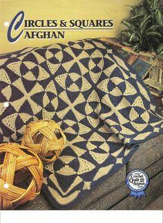 Circles  Squares Afghan  Crochet Pattern Annies Attic Crochet  Quilt Club picclick.com