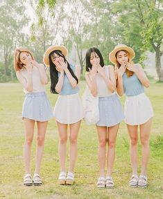 korean fashion similar twin look shorts skirt blue pastel white cream sandals hat bag cute casual Korean Fashion Trends, Korea Fashion, Kpop Fashion, Asian Fashion, Fashion Beauty, Girl Fashion, Ulzzang Fashion, Ulzzang Girl, Korean Girl
