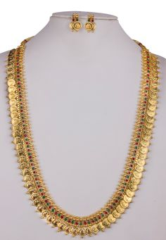Shop Golden Alloy Long Necklace With Earrings 157107 online from huge collection of indian ethnic jewellery at m. Gold Earrings Designs, Necklace Designs, Gold Designs, Gold Jewelry Simple, Gold Jewellery, Bridal Jewelry, Gold Chain Design, Indian Ethnic, Kaasu Mala