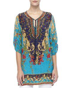 Tolani Chloe Floral and Multi-Print Long Tunic - Neiman Marcus