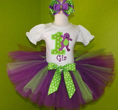 Barney with Number Girls Birthday Tutu Outfit Set.LOL so perfect for our baby Barney, if it's a girl of course!no barney Barney Birthday Cake, Barney Party, Little Girl Birthday, Birthday Tutu, 1st Birthday Girls, First Birthday Parties, First Birthdays, Birthday Ideas, 10th Birthday