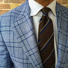 """@danielmeul of @pauwmannen wearing a Viola Milano handrolled 6-fold """"Classic Stripe Untipped Grenadine - Brown Mix"""" & handrolled """"Navy"""" Border Cotton/Linen pocket square…  Jacket by @kiton & shirt by @finamore1925 @andrea_finamore"""