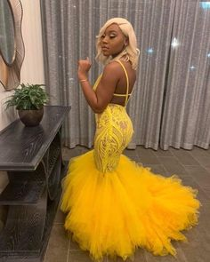 Beautiful yellow Mermaid Prom dress with feathered bottom Yellow Formal Graduation Dress - - Prom Dresses Slay, Black Girl Prom Dresses, Senior Prom Dresses, Open Back Prom Dresses, Pretty Prom Dresses, Prom Outfits, Girls Dresses, 8th Grade Prom Dresses, Costumes