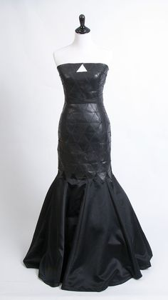Black leather triangle dress made with the Cricut Explore.