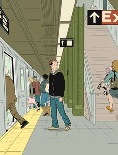This has been me on many occasions. can't miss that train!    Be Kind, 2008. Image credit: Adrian Tomine