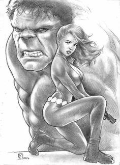 Hulk and Black Widow by huy-truong on DeviantArt Avengers 2, Hero Girl, Black Widow, Cool Drawings, Hulk, Comic Art, Fans, Marvel, Deviantart