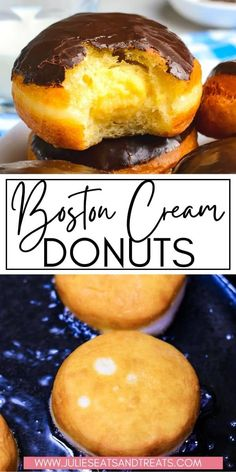Soft, airy homemade donuts that are filled with a rich, creamy custard and topped with a decadent chocolate glaze! Thanks to this delicious recipe you can make your favorite Boston Cream Donuts at home. Decadent Chocolate, Homemade Chocolate, Chocolate Recipes, Chocolate Glaze, Easy Summer Desserts, Fun Desserts, Dessert Recipes, Breakfast Recipes, Boston Cream Pie