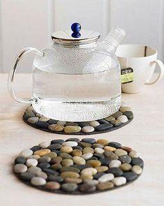 Glue river pebbles to a felt circle for a homemade trivet.