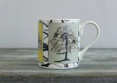 Bone China Mugs. Featuring a Sycamore Tree. Hand drawn and digitally printed in the historic potteries of Stoke-on-Trent, UK. Rachel Reynolds, Stoke On Trent, China Mugs, Bone China, Hand Drawn, Flora, How To Draw Hands, Pottery, Printed