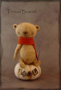 [SOLD] Thread Bears® AuTuMN Fulled /felted PRiMiTiVe bear with pin cushion / Teddy Bears & Pals / Teddy Talk: Creating, Collecting, Connecting