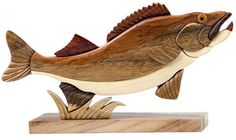 Walleye Fish Intarsia Wood Table Top Home Decor Lodge Fishing New #TheHandcrafted