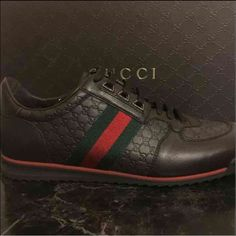 Authentic Gucci Mens sneakers Brand new, never worn. Size 8.5. Chocolate brown with micro guccissima embossed leather w/ traditional webbing on both sides Gucci Shoes Sneakers