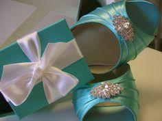 Tiffany Blue #Wedding #Shoes Over 100 Colors Choose Your Crystal Bride Bridal Something Blue. $112.00, via Etsy.