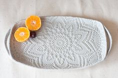 Handmade Pottery Tray - Soft Gray Lace - Ceramic Appetizer Plate - Serving Tray