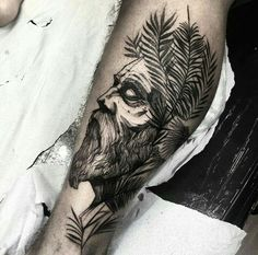 By Fredão Oliveira | Brazil | #Blackwork #BlackworkTattoo #Tattoo #Draw #OldMan…