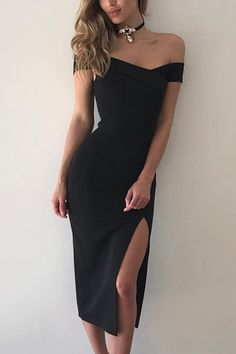 Black Off The Shoulder High Waist Bodycon Midi Dress - US 15.95 -YOINS 59c0d4fc1bd