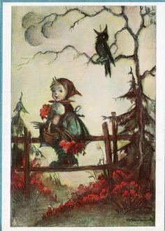 X8029 Postcard 4x6 Modern Hummel Girl on Fence with Crow