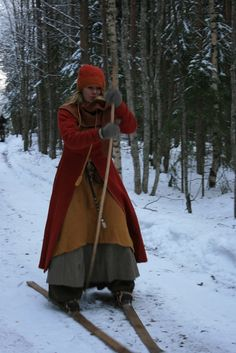 Traditional Nordic skiing, with just a balance pole, woolen skirts (men AND women).
