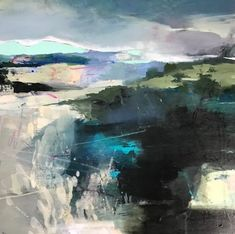 """Daily Painters Abstract Gallery: Abstract Landscape Painting, Contemporary Art,Mixed Media """"Verdant Promise"""" by Intuitive Artist Joan Fullerton. Abstract Nature, Abstract Landscape Painting, Abstract Watercolor, Landscape Paintings, Abstract Art, Abstract Paintings, Art Paintings, Paintings Famous, Floral Paintings"""