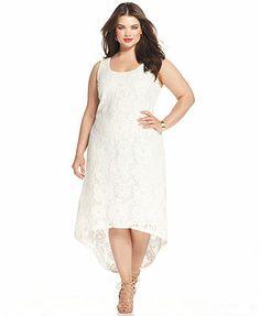Modamix Plus Size Sleeveless Lace High-Low Dress