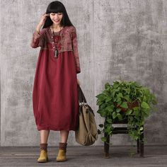Women retro style printing stitching loose cotton linen dress