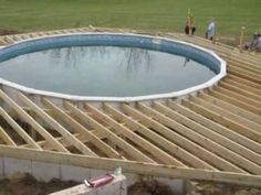 Above ground pool deck plans - YouTube