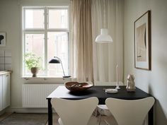 Small Dining Area, Empty Spaces, Small Studio, Home Studio, Black Accents, Kitchen Interior, Dining Table, Living Room, Interiors
