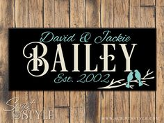 Wood Personalized Family Established Sign, Personalized Family Name Sign, Love Birds, 2 Sizes on Etsy, $34.99