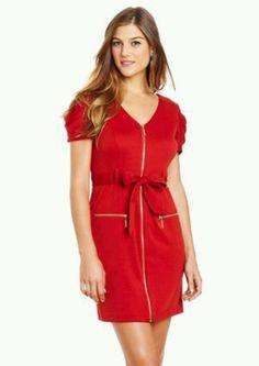 SANDRA DARREN Zipper Detail Tie Front Dress