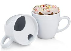 "I'd call this a mustache mug for a ""big"" mouth.  They call it the... Donut Warming Coffee Mug (Aka The Best Morning Ever Mug) - Cool Mugs With Heat Transferring Top To Warm Your Pastries"