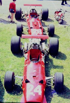 Ferrari 312 - Ferrari Tipo 218 2,989 cc (182.4 cu in), 60º V12, naturally aspirated, mid-engine, longitudinally mountedN°. 24: Chris Amon (finished 10th)N°. 26: Jacky Ickx (finished 1st)1968 French Grand Prix, Rouen-Les-Essarts Circuit