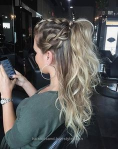 Splendid Half Up Half Down Ponytail Hairstyle with Braids The post Half Up Half Down Ponytail Hairstyle with Braids… appeared first on Haircuts and Hairstyles .