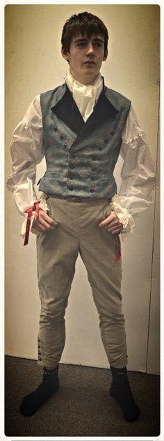 1790's Men's waist coat, shirt and breeches.