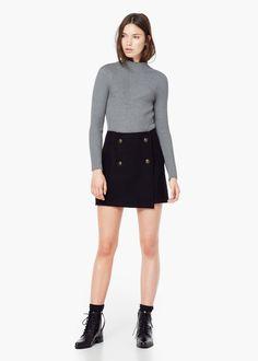 Falda lana botones - Faldas de Mujer | MANGO